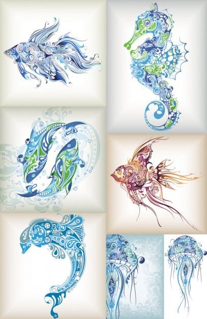 delicate patterns of marine life vector...Would make ...