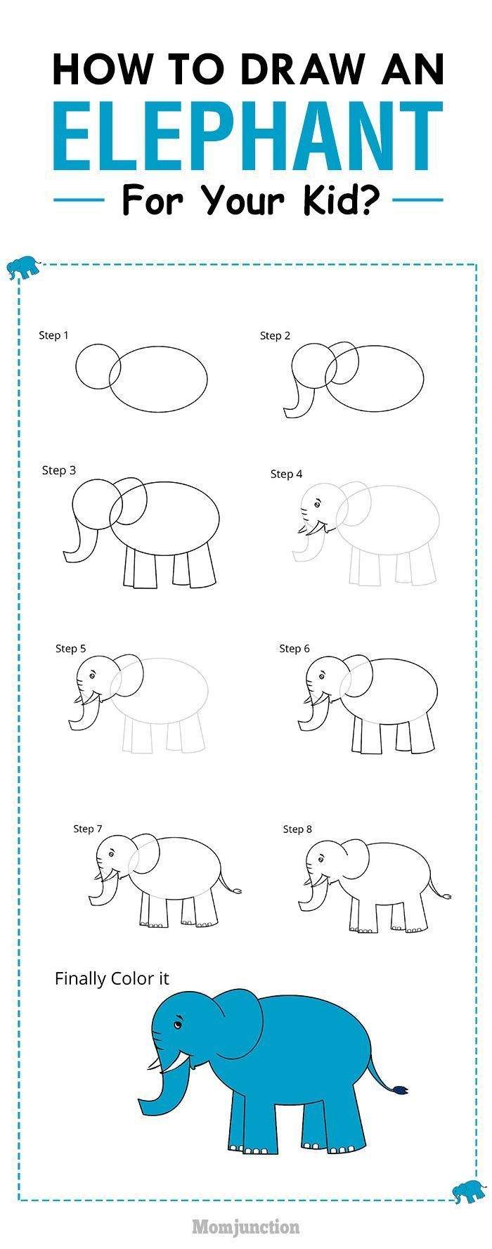 How To Draw An Elephant For Kids In Easy Steps | Zeichnen ...