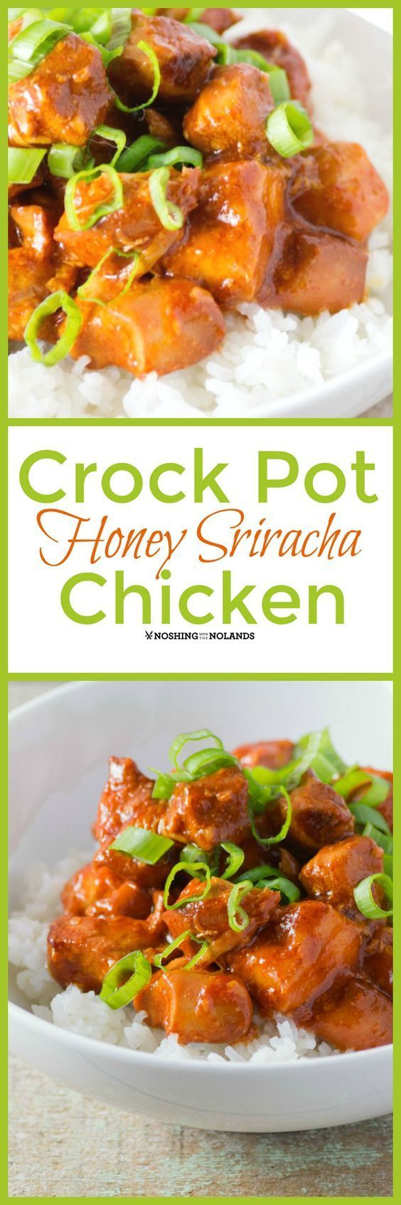 Crockpot Honey Sriracha Chicken by Noshing With The Nolands is a tangy sweet dish that is so easy to make and delicious too. Sure to become a favorite!