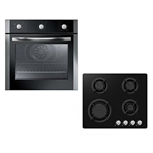 Unbranded Single Built-in Electric Fan Oven & 60cm Black Gas-on-GlassHob with Cast-Iron Pan Stands Pack