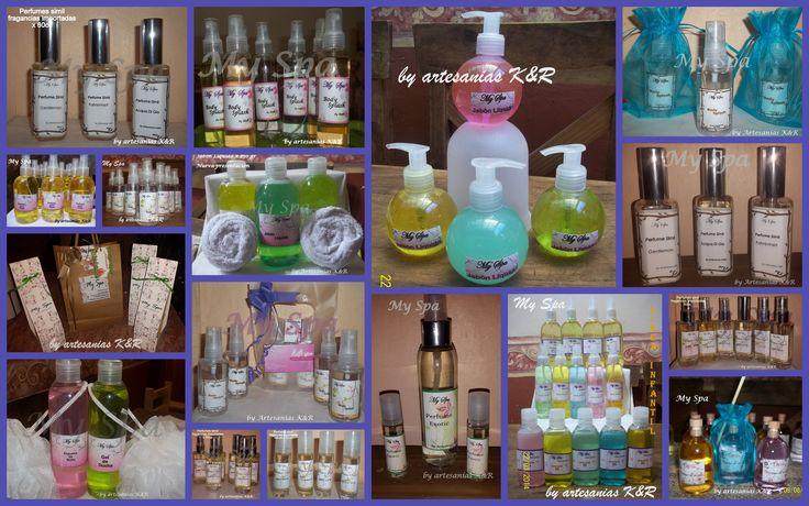 muestra general de todos los productos gel de ducha, espuma de baño, jabón liquido, body splash, perfumes símil, perfume para telas y ambientes, difusores de aromas, jabones de glicerina y coco artesanales. SE REALIZAN SOUVENIRS