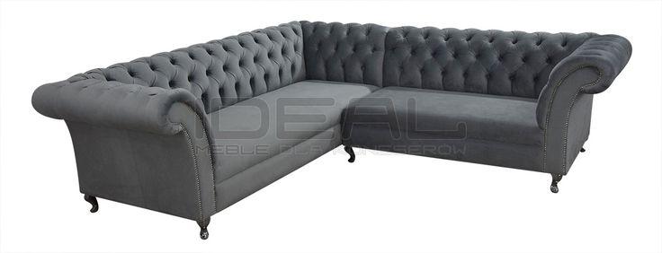 Stylowy grafitowy narożnik Chesterfield (grey Chesterfield Corner sofa) Sofy Stylowe - Narożnik Chesterfield Avon Ludwik - Ideal Meble