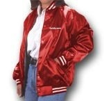 satin jacket. As cheerleaders we all had them in red and white like this with our bulldog on the back. we were cool.