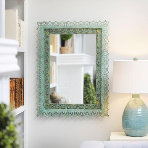 Adele Distressed Green Framed Mirror, 25x33 in. | Kirklands