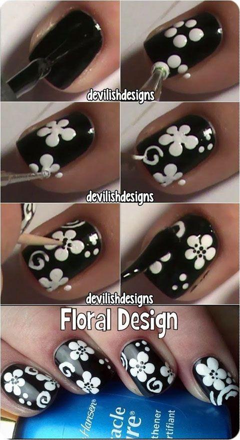 Nail art sencillo y floral | Decoración de Uñas - Manicura y Nail Art