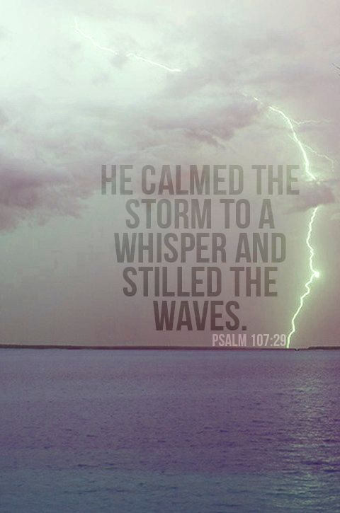 HE calmed the storm to a whisper and stilled the waves. (Psalm 107:29) More