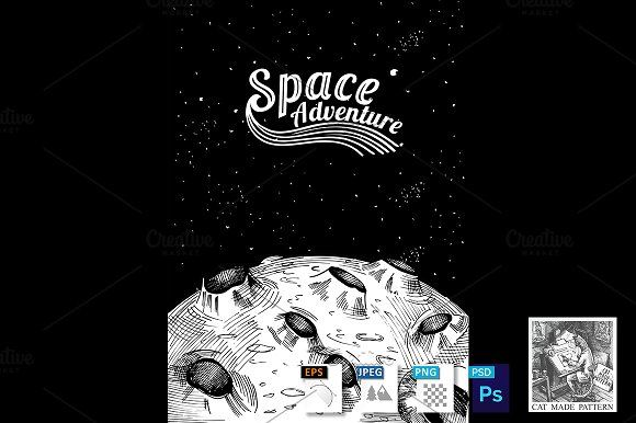 Moon surface Space adventure by CatMadePattern on @creativemarket