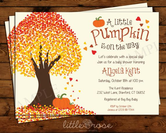 This beautiful fall-themed invitation features a tree with changing leaves with little pumpkins beneath it in the fallen leaves. Colors and