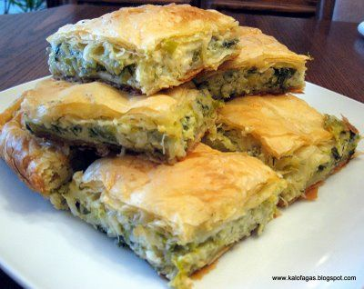 Leek and Cheese Pie - Prassopita (Πρασόπιτα) - Kalofagas - Greek Food & Beyond - Kalofagas - Greek Food & Beyond