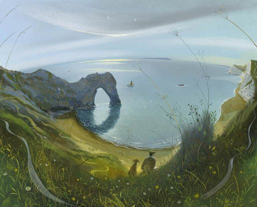On the Cliffs - Durdle Door 21x 26 ins Nicholas Hely Hutchinson