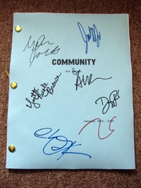 Community TV show cast signed script +7!  LOOK!