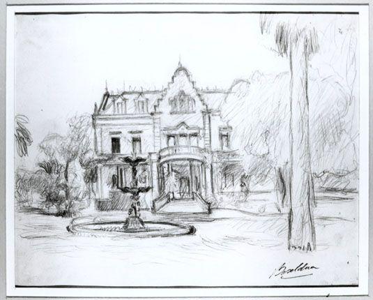 Dibujo de Villa Ocampo. Artista: Héctor Basaldúa.