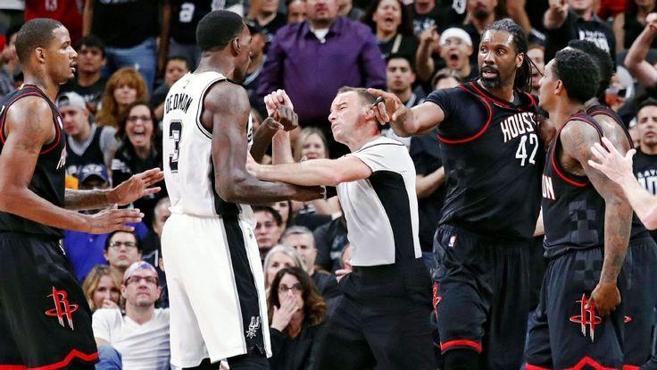 NBA fines Nene for shoving Spurs' Dedmon #FansnStars