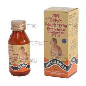 NEW BABY COUGH UNI 60ML SYR  Kompisisi : paracetamol 120 mg, glyceryl guaiacols 25 mg , ctm 1 mg , oleum anisi 0.005 ml