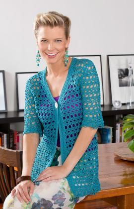 Free Crochet Pattern - Perfect for all ages and sizes, this lacy crochet jacket is a wonderful addition to your wardrobe. Wear it with everything from jeans to date night attire.