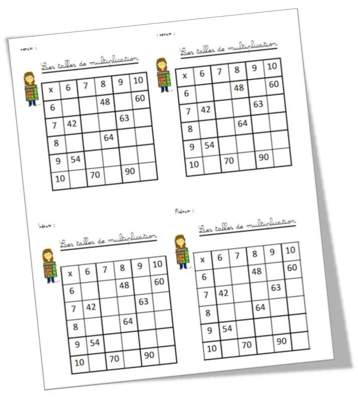 Tableau de multiplication a remplir search results - Tableau de table de multiplication ...