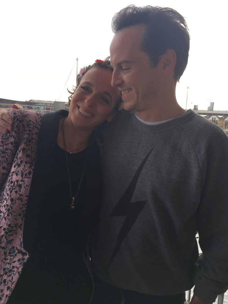Amanda Abbington & Andrew Scott. Sherlock 2016. does andrew have a harry potter shirt on?