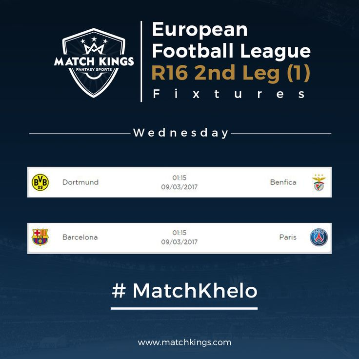 Two more teams will join FC Bayern München and Real Madrid C.F. in the Quarter-Finals tonight! How's your Fantasy Football team doing on www.matchkings.com? #MatchKhelo #BARPSG #pl #fpl #fantasysoccer #soccer #fantasyfootball #football #fantasysports #sports #fplindia #fantasyfootballindia #sportsgames #gamers  #stats  #fantasy #MatchKings