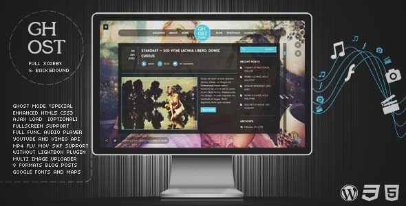 Download and review of Ghost WP Full Screen Video, Image with Audio, one of the best Themeforest Creatives themes