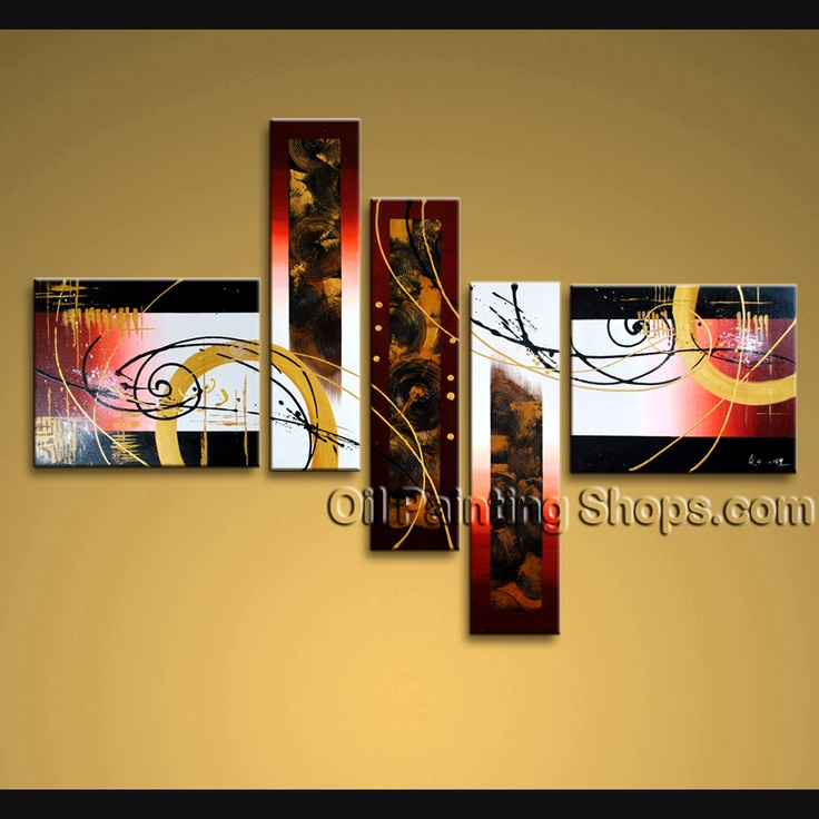 Beautiful Modern Abstract Painting Hand Painted Oil Painting Stretched Ready To Hang Abstract. This 5 panels canvas wall art is hand painted by A.Qiang, instock - $155. To see more, visit OilPaintingShops.com