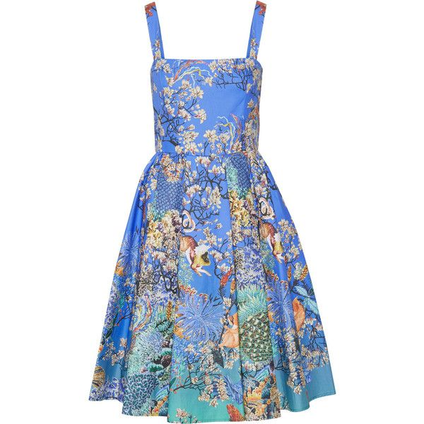 Mary Katrantzou Favry printed cotton-cloqué dress (3.995 BRL) ❤ liked on Polyvore featuring dresses, blue, colorful dresses, cotton dresses, pleated skater skirt, flared skirt and blue dress