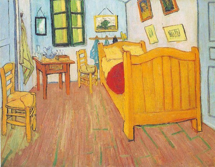 """Camera da letto, Vincent van Gogh, 1888, olio su tela, Van Gogh Museum (Amsterdam). """"ho fatto, sempre come decorazione, un quadro della mia camera da letto, con i mobili in legno bianco, come sapete. Ebbene, mi ha molto divertito fare questo interno senza niente, di una semplicità alla Seurat; a tinte piatte, ma date grossolanamente senza sciogliere il colore"""". Così scrive van Gogh a Gauguin, attendendo proprio l'arrivo del suo futuro compagno di appartamento."""