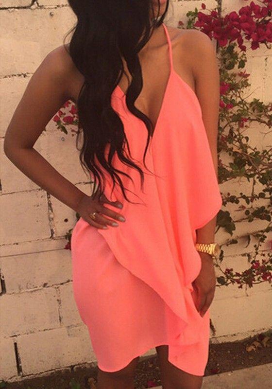 Pink Plain Pleated Irregular Condole Belt Backless V-neck Sexy Dress
