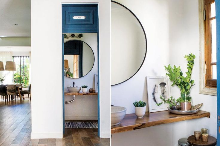 Una casa que se adapta a los cambios  on tres simples gestos, el toilette se reformuló por completo: la puerta antigua que funcionaba como mesada se cambió por este tablón de guayubira laqueada