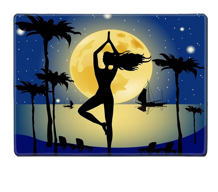 Liili Natural Rubber Placemat IMAGE ID: 29539266 An image of a pretty woman doing yoga under a big pale moon ** Find out more about the great product at the image link.