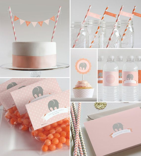 Printable Decorations  // Baby Shower or First Birthday // Blush Pink & Tangerine Elephant Collection