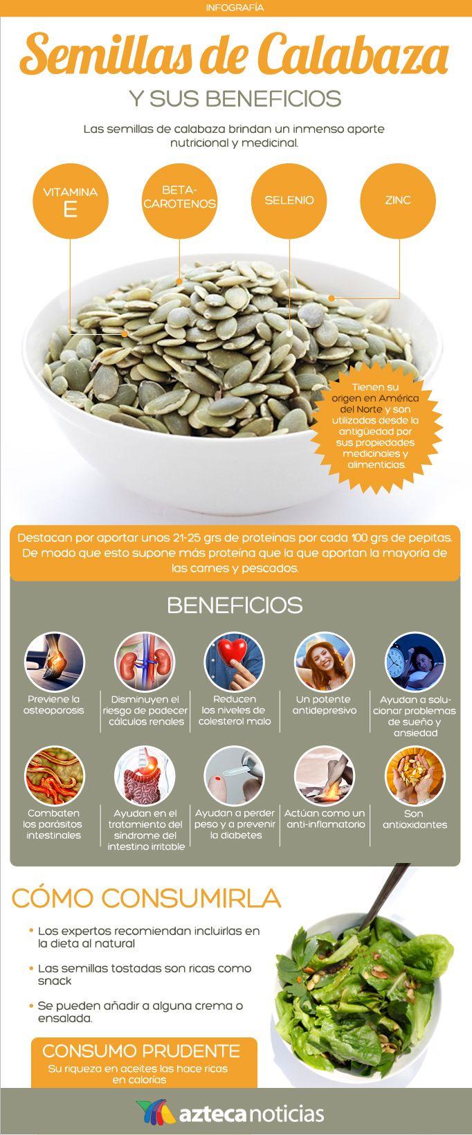 Semillas de calabaza y sus beneficios #infografia