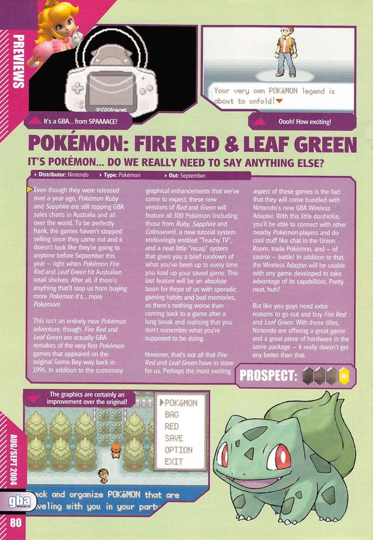 A retro preview of #Pokemon FireRed and LeafGreen from GBA World Magazine Issue 10. Page 1 of 2. More retro Pokemon stuff @ http://www.pokemondungeon.com/media-downloads/retro-pokemon-magazine-scans