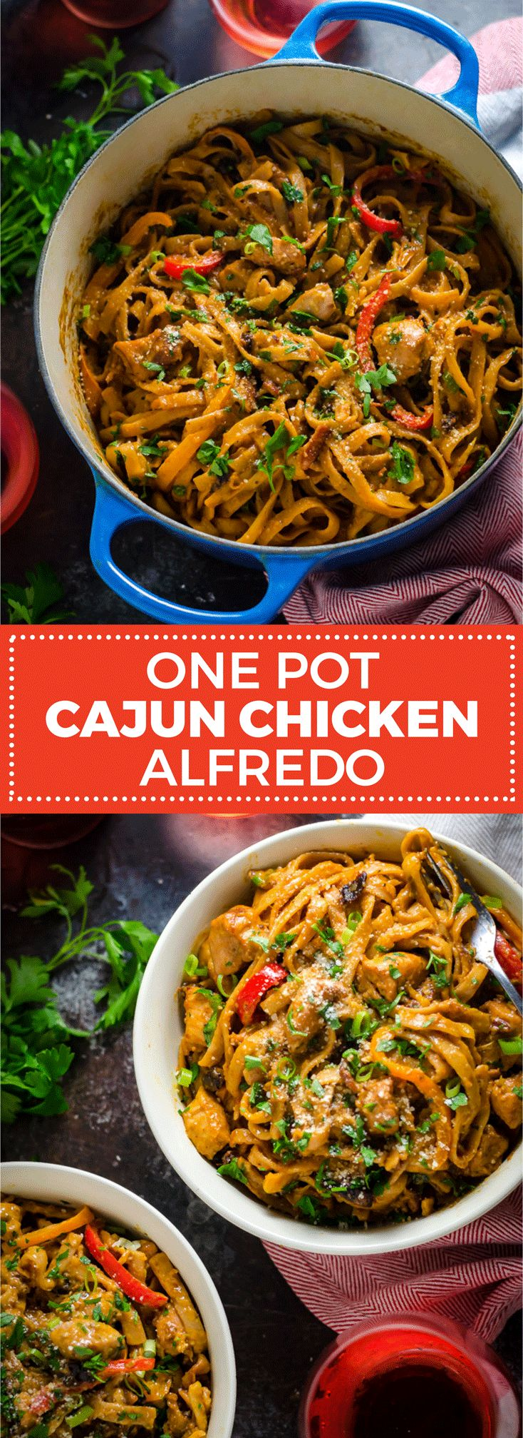One Pot Cajun Chicken Alfredo. This creamy, flavorful, weeknight pasta dinner takes less than an hour to make, and is loaded up with chicken, bacon, bell peppers, and more! Pair it with Sutter Home White Zinfandel for a little #SweetOnSpice | #ad |  hostthetoast.com