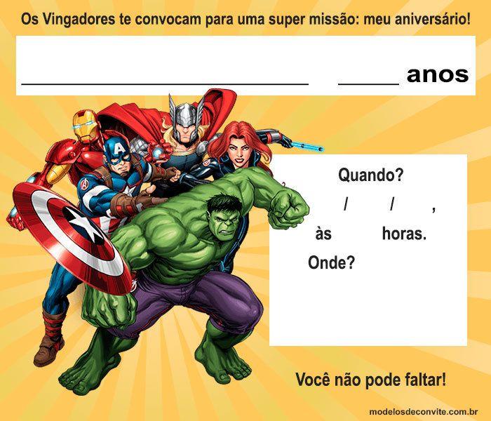 Convite Vingadores Convite Vingadores Aniversario Vingadores