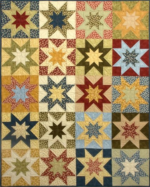Great scrappy star quilt with pieced star blocks, pattern is called Double Vision from: Bits 'n Pieces