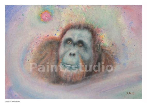 Orangutan print ape animal print wall art surreal by Paintzstudio