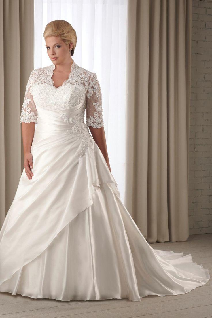 2013 Wedding Dresses Plus Size Long Sleeve Lace Up ...