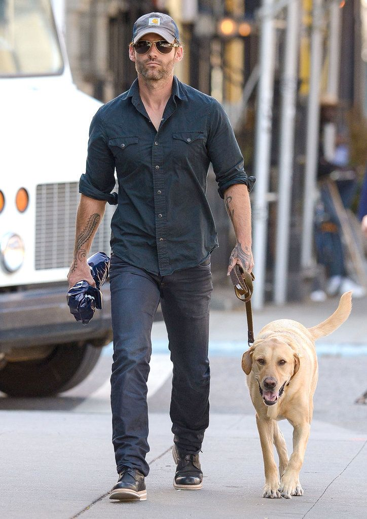 On Friday, Seann William Scott spent part of his 38th birthday on a stroll with his labrador retriever Spinee in NYC.