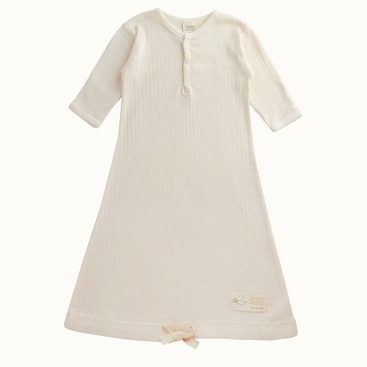 Organic Pointelle Sleeping Gown | Nature Baby