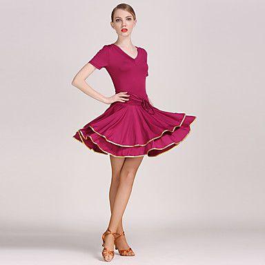 Női-Latin+tánc+Teljesítmény+Samba-Testedző+Ruhák(Fekete+Bíbor+Piros,Mlječna+vlakna+–+EUR+€+29.39