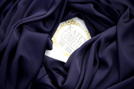 298 Navy Blue Satin Silk Fabric Soft Luxury Blue Lining