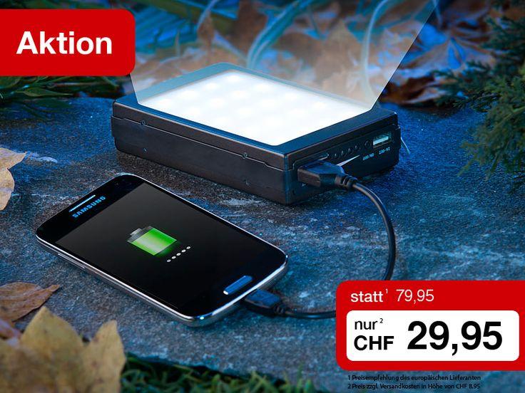 Mit dieser praktischen Powerbank haben Sie Ihre Stromreserve für Smartphone & Co. immer dabei. Und das besonders clever, weil stromsparend dank Solar-Ladefunktion: Einfach in die Sonne legen, schon startet der Ladevorgang. Scheint die Sonne nicht, betanken Sie die Powerbank einfach per USB-Kabel.  Sie erhalten die alternativ per Solar oder USB-Kabel ladbare Powerbank mit 11.000 mAh und integrierter Campingleuchte mit 20 LEDs diese Woche zum Sonderpreis.  Jetzt kaufen…