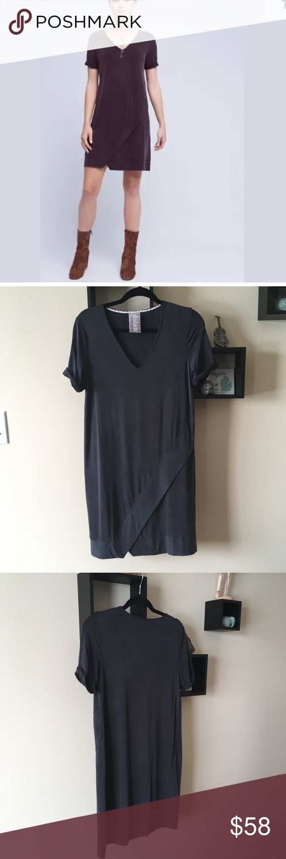 {Anthro} Dolan Left Coast dress This is the comfiest dress you'll ever put on! Runs a bit oversized. The color is a black, almost smoky-gray color, and the material has a suede look to it! So neat! Worn and washed once, only, perfect condition- no flaws! Please note that due to the intended design of the dress, the fabric has a bit of a textured appearance to it (where it changes depending on the direction you run your hand over it, if you know what I mean)! Anthropologie Dresses Mini