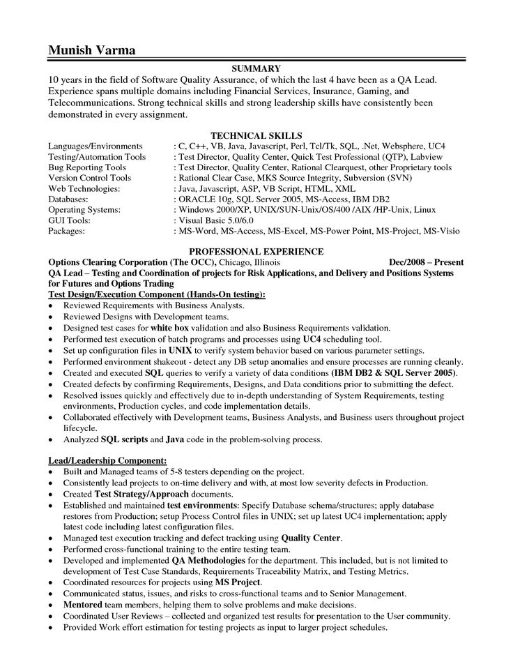31 best Sample Resume Center images on Pinterest Cover letter - quality assurance resume examples