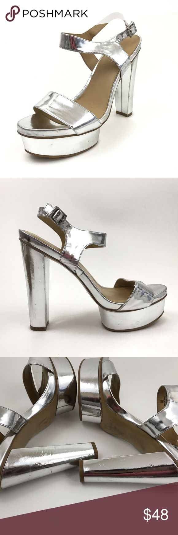 """Nine West Metallic Silver Platform High Heel Shoes Brand: Nine West  Tagged Size:8 M  Heel Height:5.5""""  Platform Height:1.5""""  Faux Leather Upper  Condition: Pre Owned Shoes, in Great Condition! No Holes, Stains or Fading. Has Some Scuffing- All Shown in Photos  Original Box/Dust Bag is Not Included  Item comes from a pet free/smoke free clean environment  please contact me for any additional questions  I offer combined shipping Nine West Shoes Platforms"""