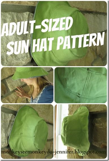 hat collage for resized adult pattern - use old clothes for fabric