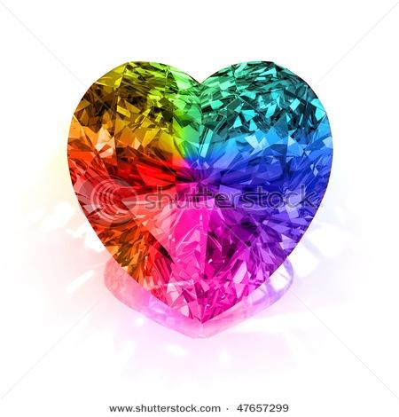 .: Beautiful Colors, Diamonds, Heart Shape, Rainbow Heart, Rainbows, Rainbow Diamond