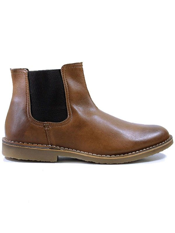 Vegan Vegetarian Non-Leather Mens Casual Chelsea Boots in Chestnut
