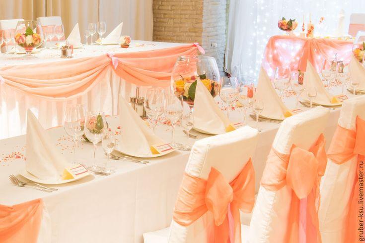 Купить Персиковые банты на свадьбу - бант, банты на стулья, банты на свадьбу, свадебное оформление