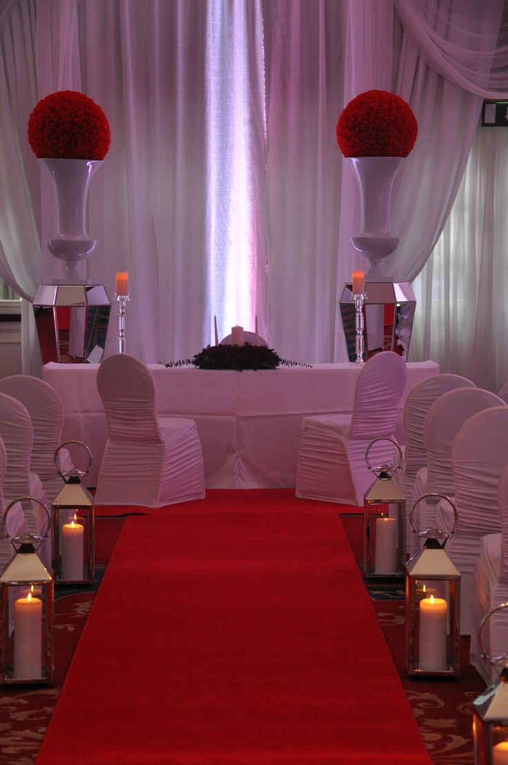 Civil Ceremony with Red and White Decor. Visit www.gotchacovered.ie for more